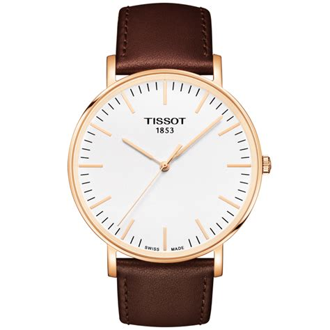 Tissot Gold Leather tissot everytime 42mm gold pvd brown leather