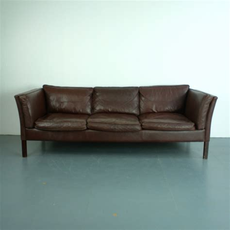 Vintage 3 Seater Dark Brown Leather Sofa From Stouby For Brown Leather Sofa Sale