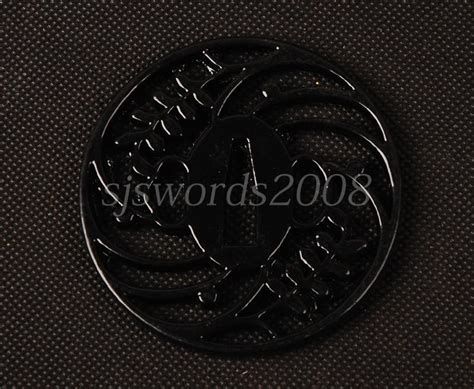 Katana Tsuba Black japanese sword katana fitting alloy tsuba guard black design hj110