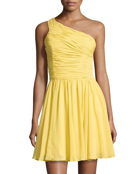 Miller Dandelion Dress heritage one shoulder ruched dress in yellow dandelion lyst
