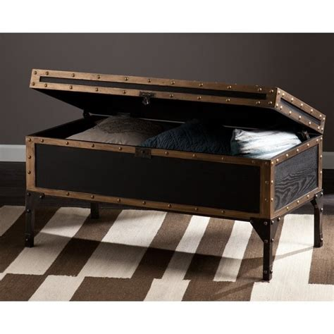 black trunk coffee table southern enterprises drifton travel trunk coffee table in