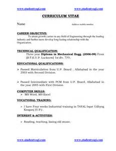 Format Of Resume For Mechanical Engineers Freshers Resume Format For Freshers Mechanical Engineers Pdf