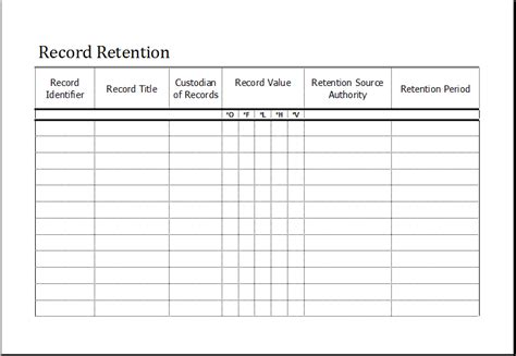Editable Printable Time And Attendance Sheet Excel Templates Records Retention Policy Template