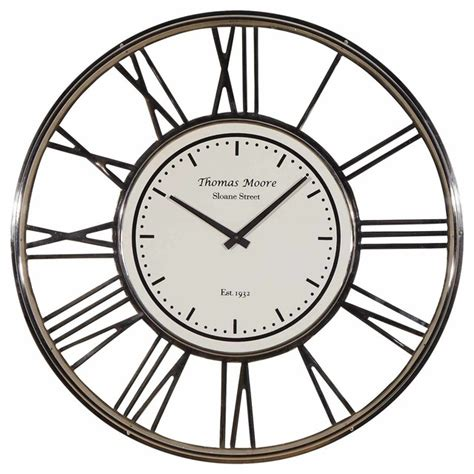 houzz clocks large nickel wall clock traditional wall clocks by