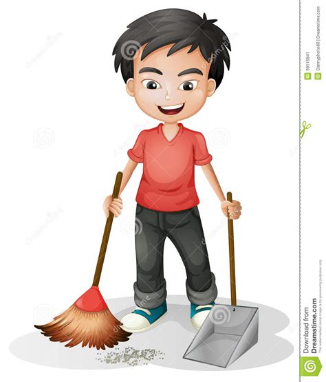 Drawing Floor Plans Free by A Boy Sweeping The Dirt Stock Vector Illustration Of