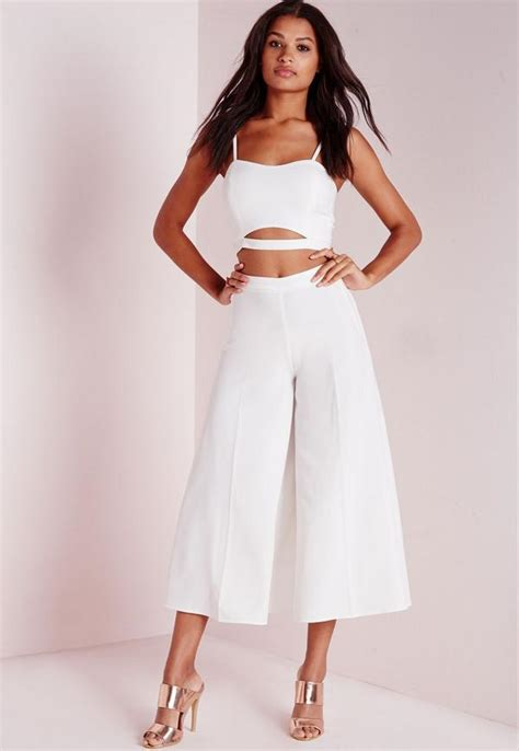 Spike Set Topculottes crepe wide leg culottes white missguided