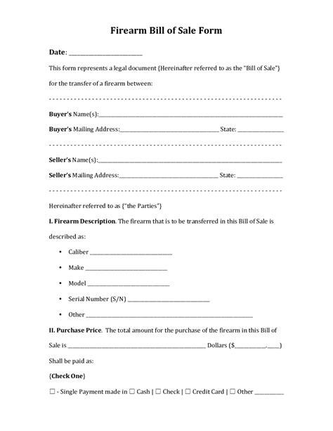 Bill Of Sale Document