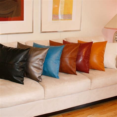 leather couch pillows faux leather pillows furniture home design ideas