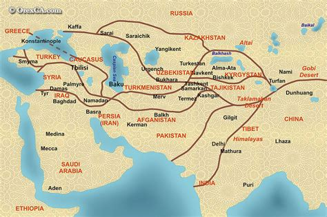 silk road map the great silk road map map of ancient silk road with modern cities and countries