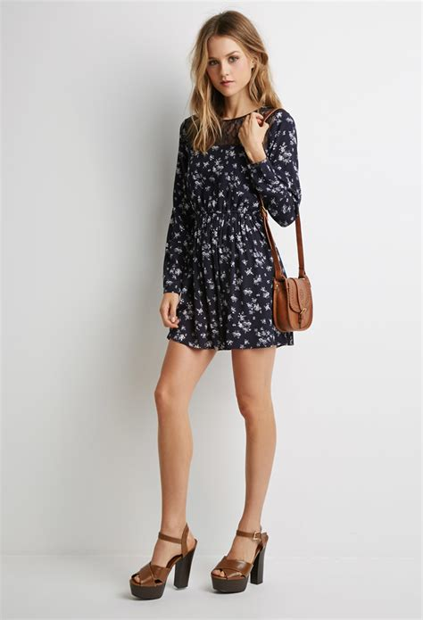 Flower Lace Dress Black Pink Ml lyst forever 21 floral lace paneled dress in blue
