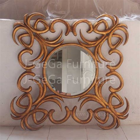 Jual Cermin Custom pigura cermin hias coconut ribbon gold