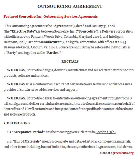 outsourcing agreement sample outsourcing agreement