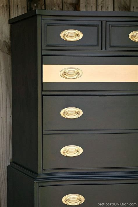 Metallic Gold Stripe Adds Drama To Bedroom Furniture Spray Paint Bedroom Furniture