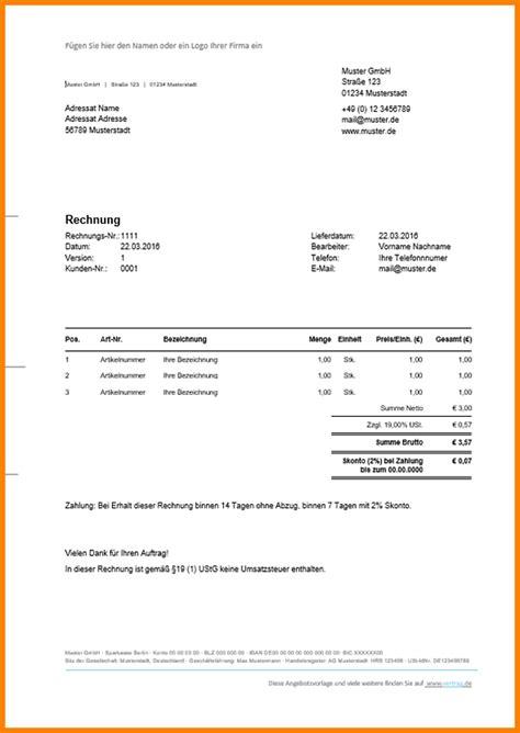 Rechnung Kleinunternehmer Doc 6 Rechnung Stellen Kleinunternehmer Sponsorshipletterr