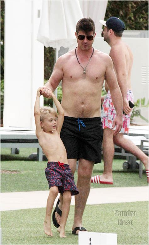 Pool Care Tips robin thicke and son julian fuego thicke playing by the