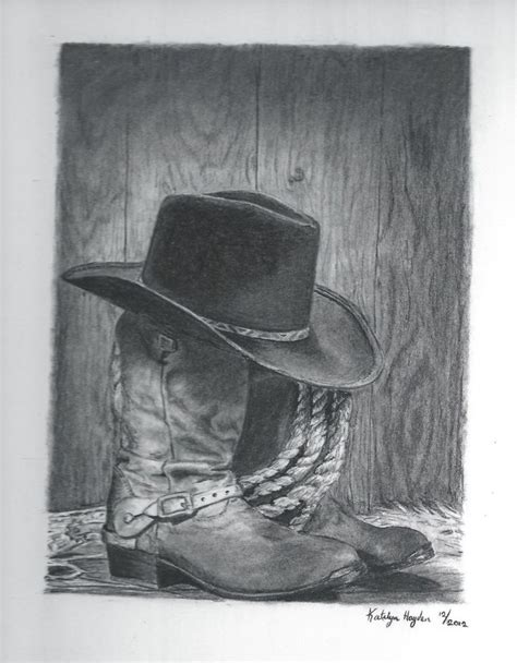 free cowboy pencil art cowboy boots and hat by sunbird18