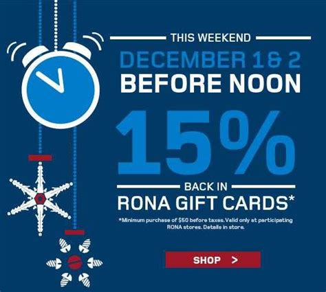 Rona Gift Card - rona get 15 back in rona gift cards this weekend hot canada deals hot canada deals