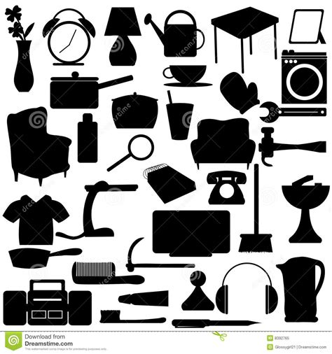 Free House Plans by Household Silhouettes Items Royalty Free Stock Photo