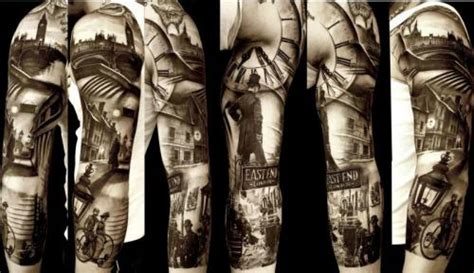 tattoo east london south africa black and white clock and east end sleeve tattoo
