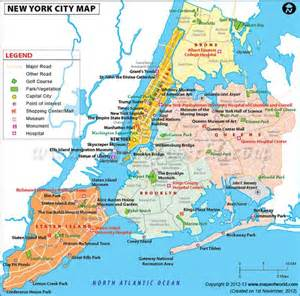 Map Of New York City Attractions by Map Of Newyork City In Usa Showing Roads Airports