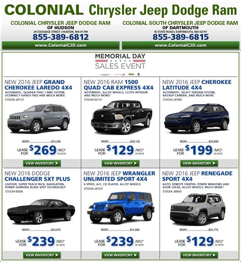 Colonial Chrysler Jeep Dodge by Boston Colonial Chrysler Jeep Dodge New Car Deals