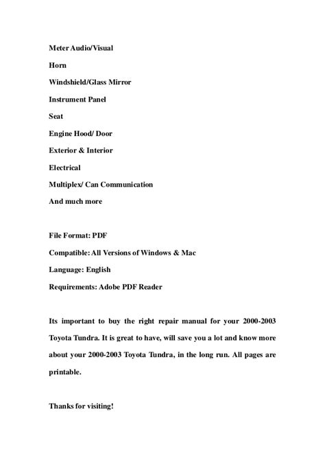 how to download repair manuals 2003 toyota tundra on board diagnostic system 2000 2003 toyota tundra service repair workshop manual download 2000