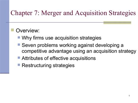 Merger And Acquisition Mba Ppt by Merger And Acquisition Strategy