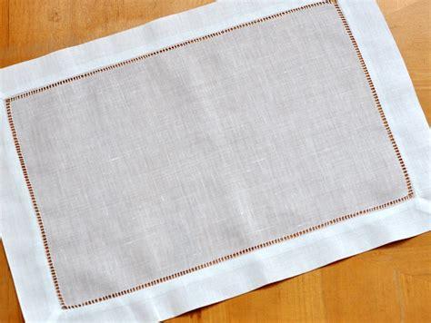 Linen Place Mats 4 pc set white hemstitched linen placemats
