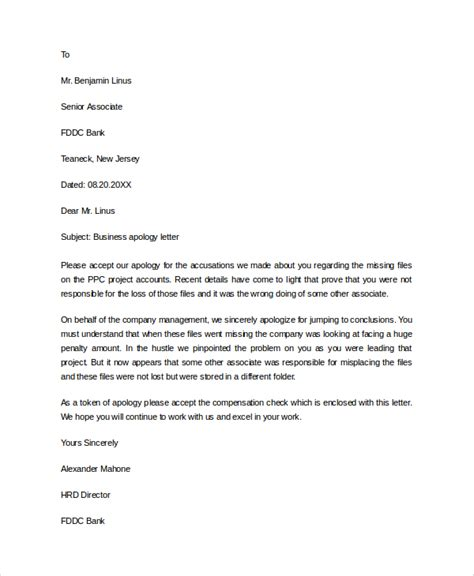 Apology Letter To Hr Sle Business Apology Letter 7 Documents In Pdf Word