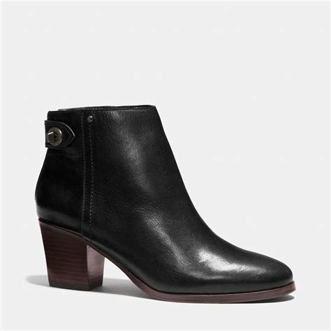 coach boots lyst coach leather ankle boots in black