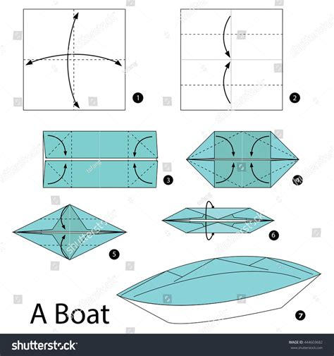 folding paper to make boat step by step instructions how make stock vector 444603682
