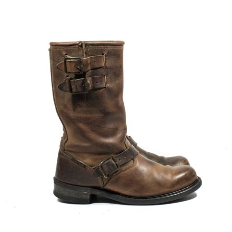 brown leather biker boots vintage harley davidson motorcycle boots brown leather