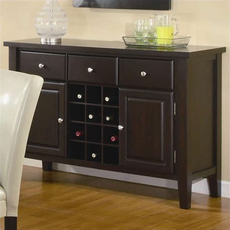 coaster carter buffet style server in dark brown wood finish 102265