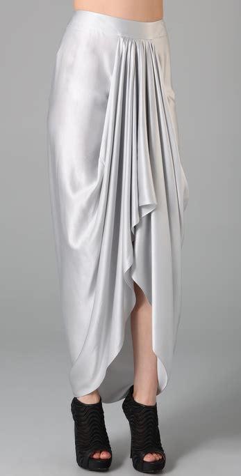 draped long skirt l a m b draped long skirt in white lyst