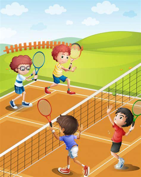dibujos de niños jugando tenis ni 241 os jugando tenis en la cancha descargar vectores premium