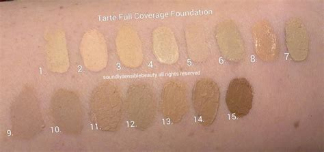 tarte foundation colors tarte coverage foundation spf 15 review swatches