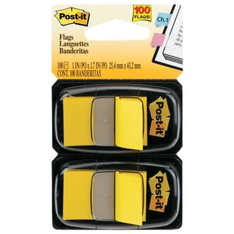 post it 174 flags 680 5 yellow pack of 100 officemax myschool