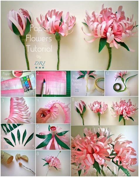 Paper Crafts Tutorials - pretty diy paper flowers to make for home