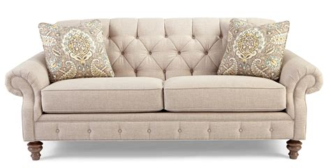 Traditional Button Tufted Sofa With Wide Flared Arms By