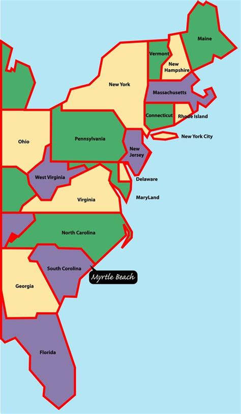 printable us map east coast east coast map myrtle beach is situated on the east or