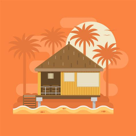 draw house illustrator how to create a tropical bungalow on a palm beach in adobe
