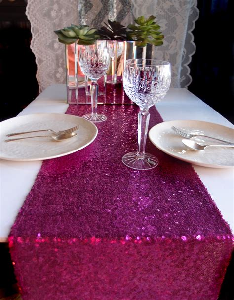 pink paper table runner sequin table runner fuchsia pink 12 x 108 ebay
