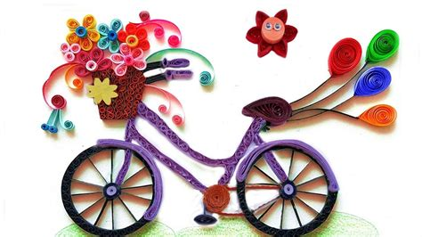 How To Make A Bike Out Of Paper - how to make quilling bicycle with flowers paper quilling