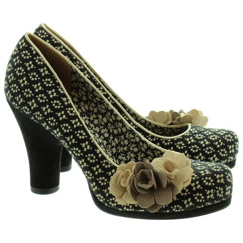 shoo and ruby shoo ladies eva flower court shoes in sand in sand