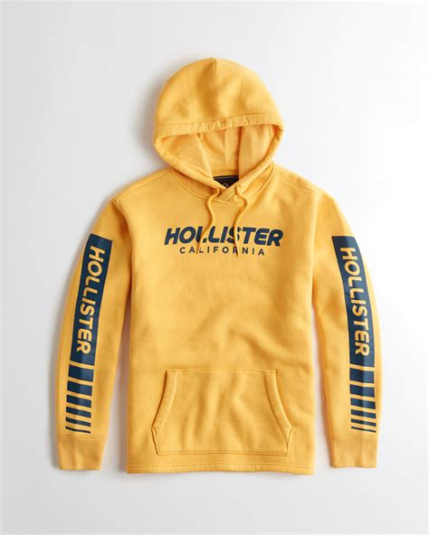 Hollister Print Logo Hoodie lyst hollister logo graphic hoodie in yellow for