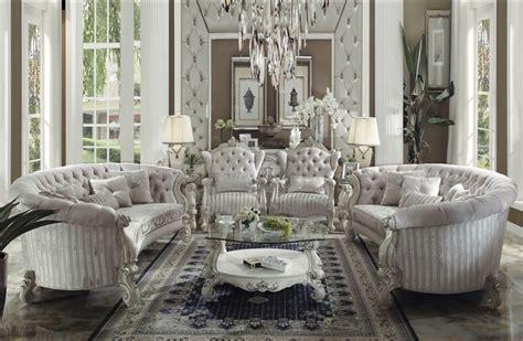 white and silver living room versailles button tufted ivory velvet bone white finish