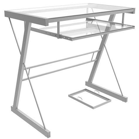 glass and metal computer desk becker computer desk in silver