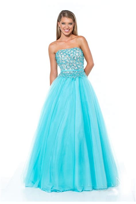 strapless tulle gown with beaded belt gown strapless aqua blue tulle beaded prom dress