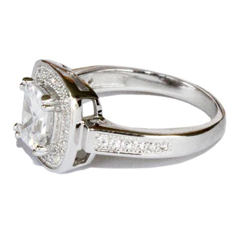 halo promise ring white cubic zirconia