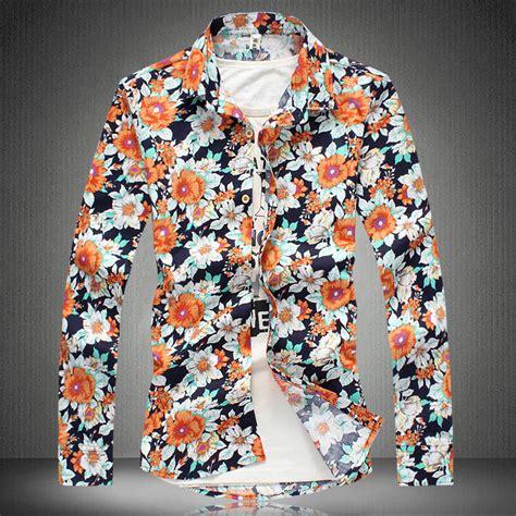 Floral Pattern Shirt Mens | 2014 new flower pattern mens shirts long sleeve shirt men